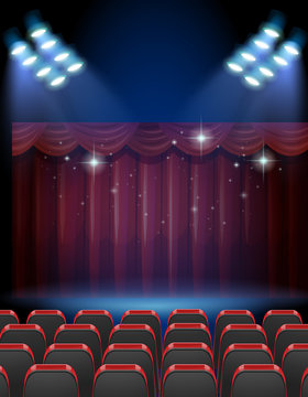 Stage theater with lights and seats