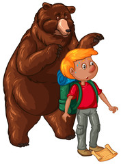 Male hiker and brown bear