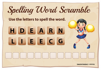 Spelling word scramble for word cheerleading