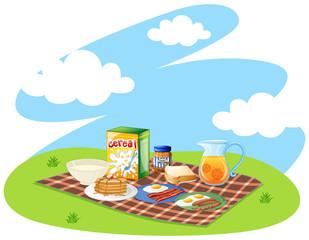 Healthy breakfast set in the park
