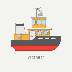 Line flat vector color icon comercial tugboat. Merchant fleet. Cartoon vintage style. Ocean. Sea. Barge. Tow. Port. Transportation. Captain. Sail. Simple. Illustration and element for your design.