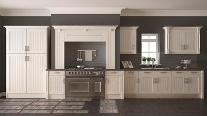 Classic kitchen, scandinavian minimal interior design with woode