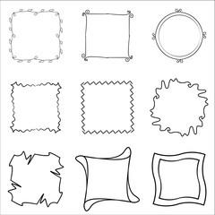 Set of hand drawn black frames
