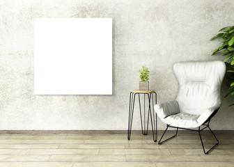 3D illustration of poster frame template, interior mock-up design