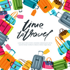 Vector square banner, poster or flyer design template with multicolor luggage, suitcase, bags and calligraphy lettering. Hand drawn frame. Trendy concept for summer travel and tourism background