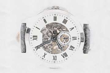 Mechanical Watch Concept Sketch With Visible Mechanism