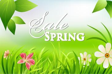 spring sales, shopping concept, vector illustration