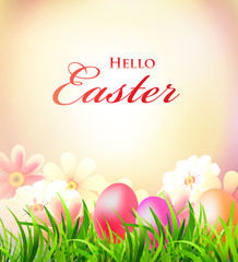 Easter greeting card with colorful eggs and flowers, vector illustration