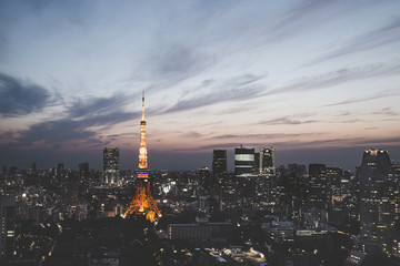 Illuminated Tokyo tower in city against sky at dusk