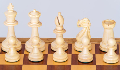 A set of white pieces on chessboard