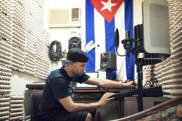 Radio jockey working studio
