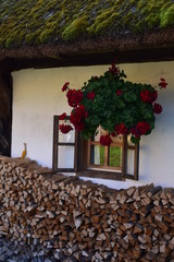 Farm Window with Wood Stack, Slovenia
