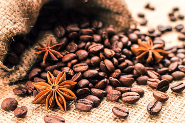 Bag of coffee beans with anise