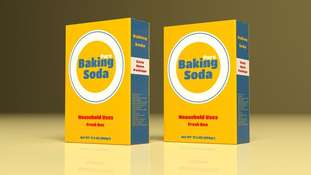 Baking soda paper packages. 3d illustration