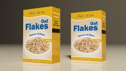 Oat flakes paper packages. 3d illustration