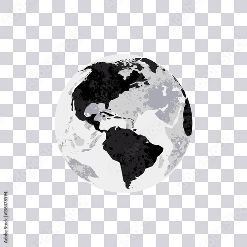 American continent isolated on transparent background earth globe american continent isolated on transparent background earth globe monochrome world map vector illustration gumiabroncs Gallery