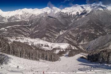 Panoramic view  the skiing area Rosa Khutor; Krasnaya Polyana; Sochi; Russia.