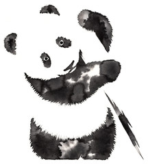 black and white monochrome painting with water and ink draw panda illustration