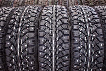 New winter studded tire sold in the shop
