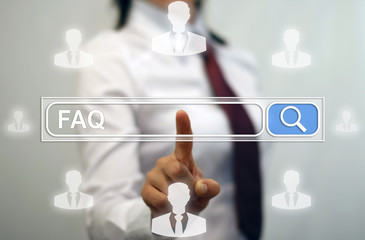 Businesswoman presses faq icon with search line web browser. Internet, www, connection, web site, computer, search string. Support, business. Frequently asked question concept for website service.