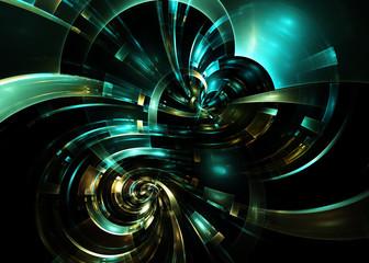 Abstract Fractal Swirl Metallic  Background - Fractal Art