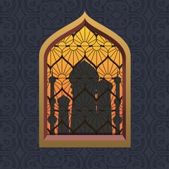 Night silhouette arabic mosque in window