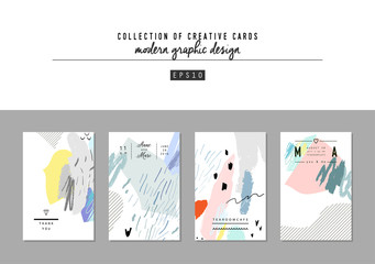 Set of artistic creative universal cards. Hand Drawn textures. Trendy graphic design