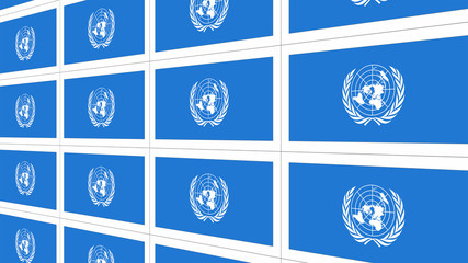 Sheet of postcards with international flag of UN. Symbol of United Nations Organization.