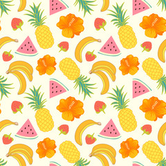 Floral seamless pattern with tropical fruit