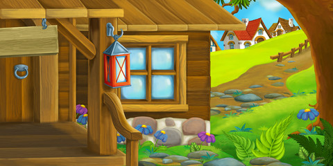 Cartoon background of an old house - village in the meadow - illustration for children