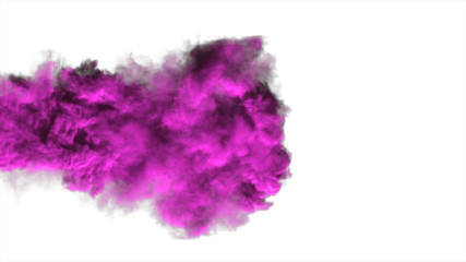 Purple dense smoke on a white background isolated