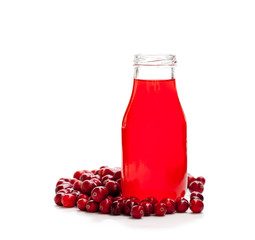 Organic  cranberry juice in bottle with berries isolated on whit