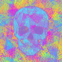 Skull on colored chaotic creative background