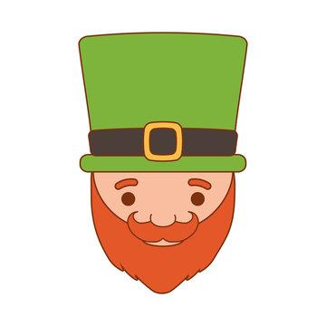 cartoon saint patrick day leprechaun with hat beard vector illustration