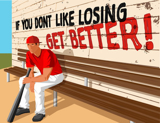 baseball player on bench with bat in front of motivational slogan
