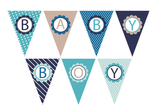 vector blue and brown flags for boy's baby shower