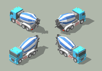 Concrete truck mixer isometric icon vector graphic illustration design. Infografic elements