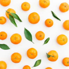 Fresh citrus isolated on white background. Flat lay. Top view