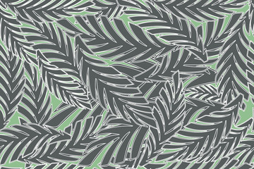 Summer tropical palm tree leaves seamless pattern. Vector grunge design for cards, wallpapers, backgrounds and natural product.