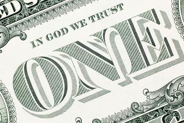 One dollar banknote detail