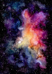 Watercolor Bright Pink Galaxy and Starry Sky
