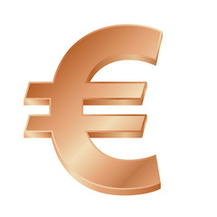 vector illustration of a bronze euro sign on white background