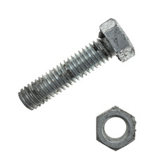 Used steel bolt and nut isolated on a white background.