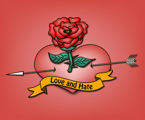 Happy Valentine's day and heart with a rose