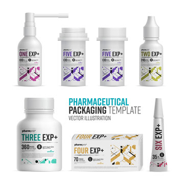 Pharmacy package template on white background. Medical product bottle and box with design vector isolated.
