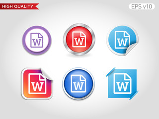 Word file icon. Button with word file icon. Modern UI vector.