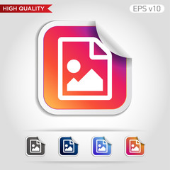 Image file icon. Button with image file icon. Modern UI vector.