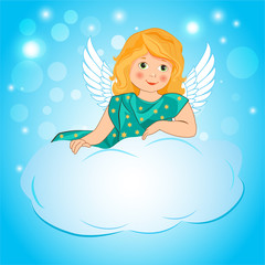 Illustration A Little Girl Angel Wings On A Cloud. Cute Fairy Cartoon Greeting Card. Girl Angel Costume. Immortal Love. My Sweet Angel. Girl With Wings.