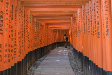 Foto op Aluminium Japan Red torii gate at Fushimi Inari Shrine in Kyoto, Japan