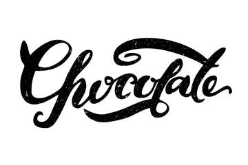 Chocolate lettering. Hand drawn modern calligraphy